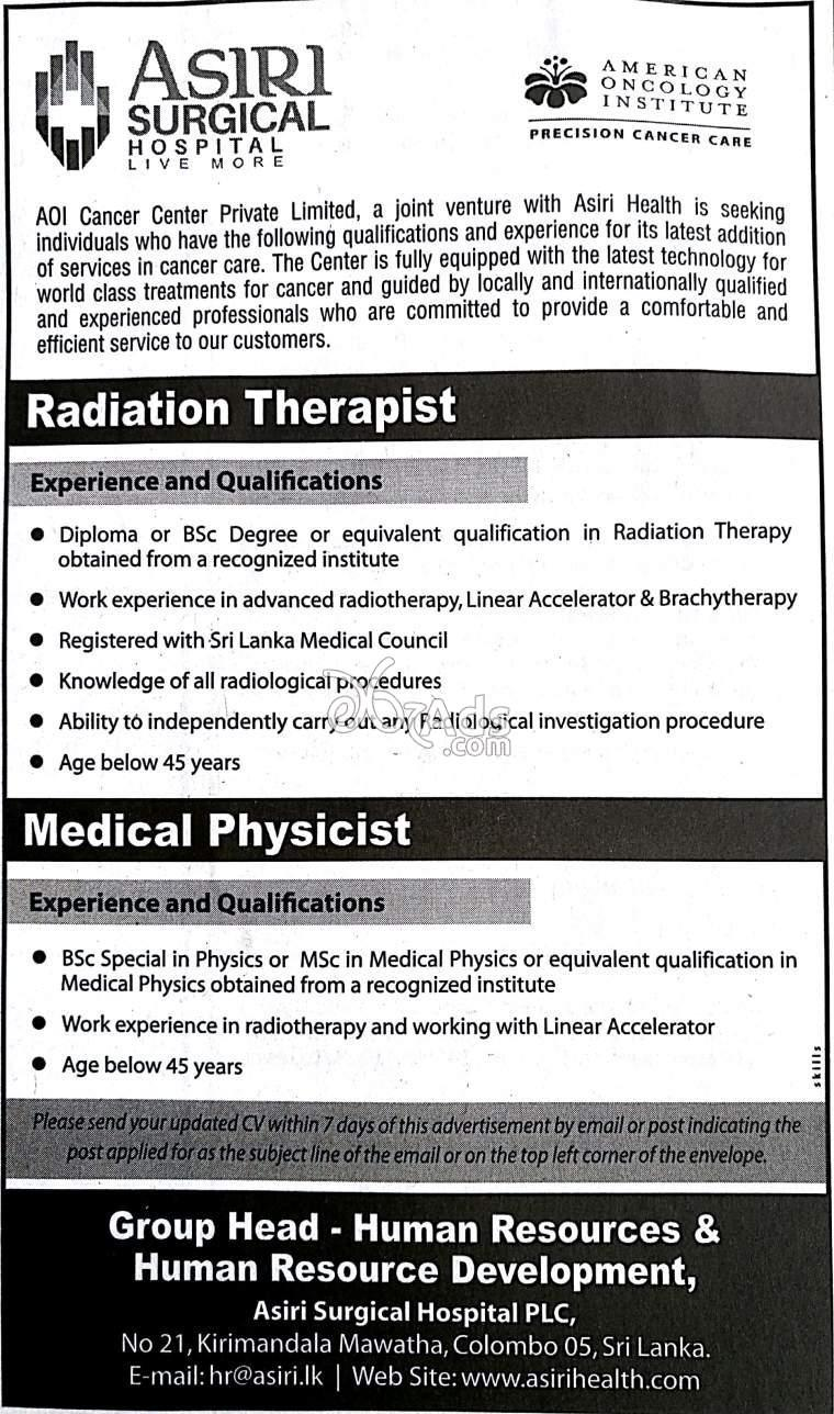Vacancies for Radiation Therapist and Medical Physicist for
