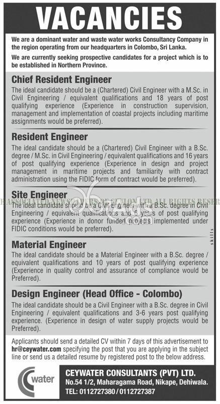 Resident / Site / Material / Design Engineers Vacancies at