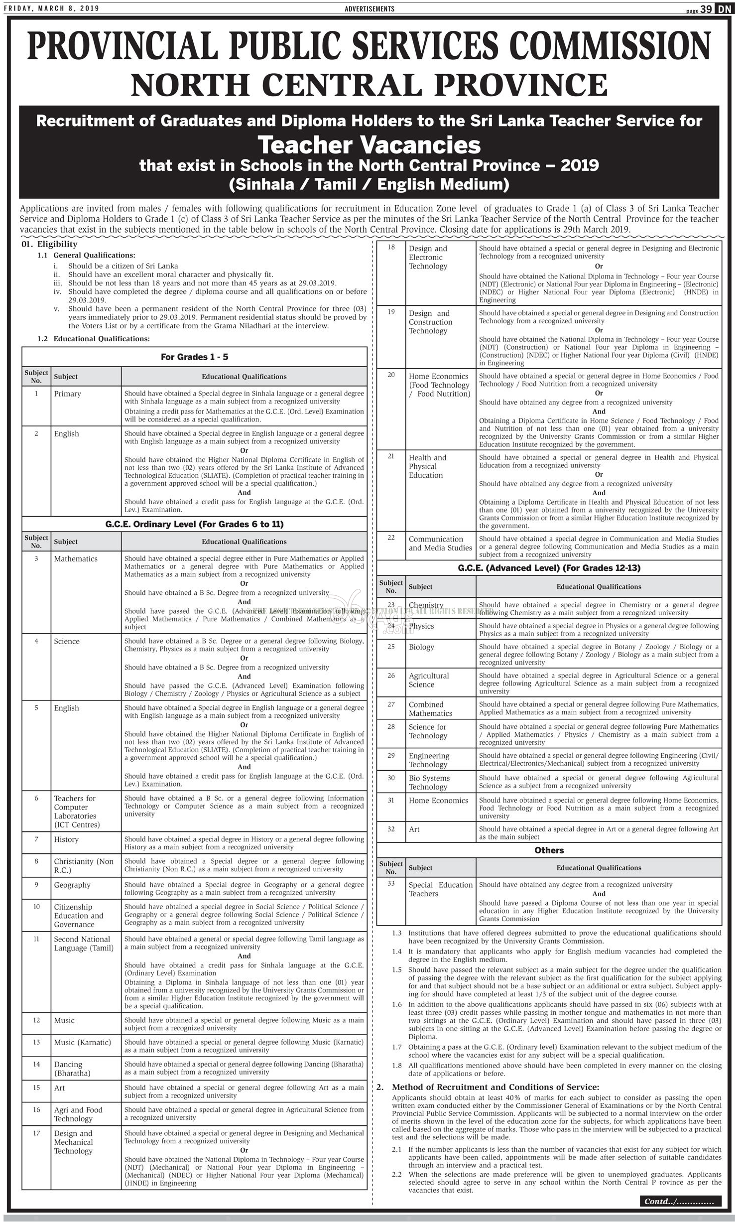 Teachers Government Vacancies at Public Service Commission - North