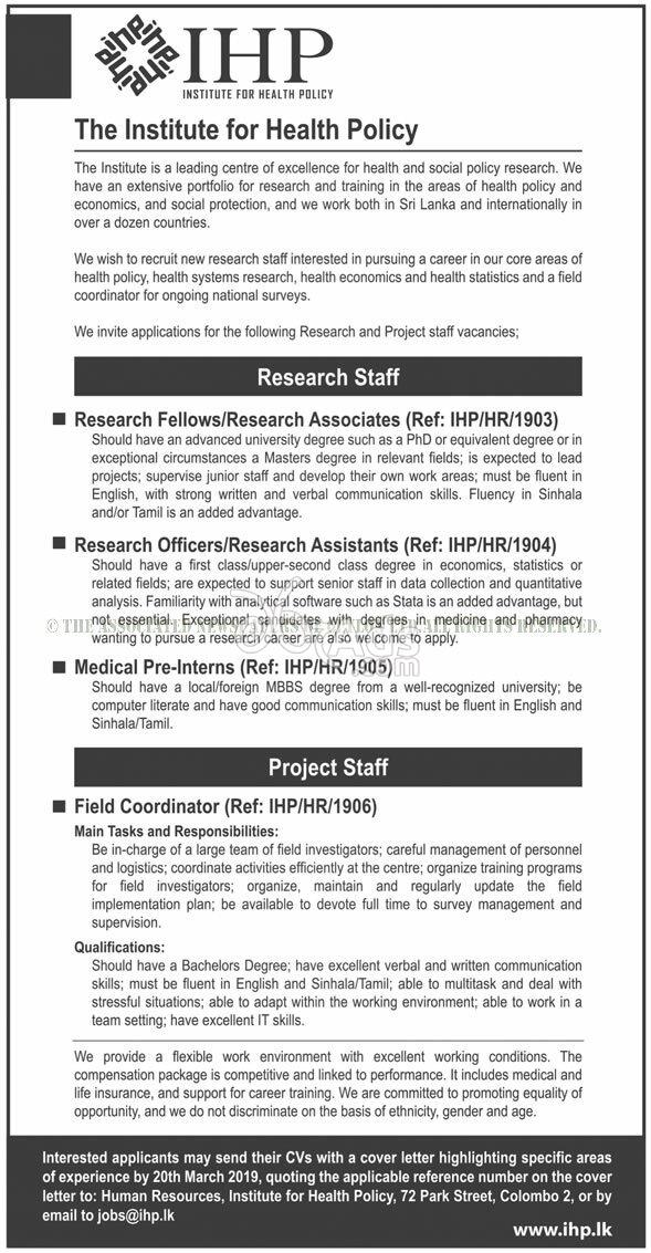 Research Staff, Project Staff Vacancies at Institute for