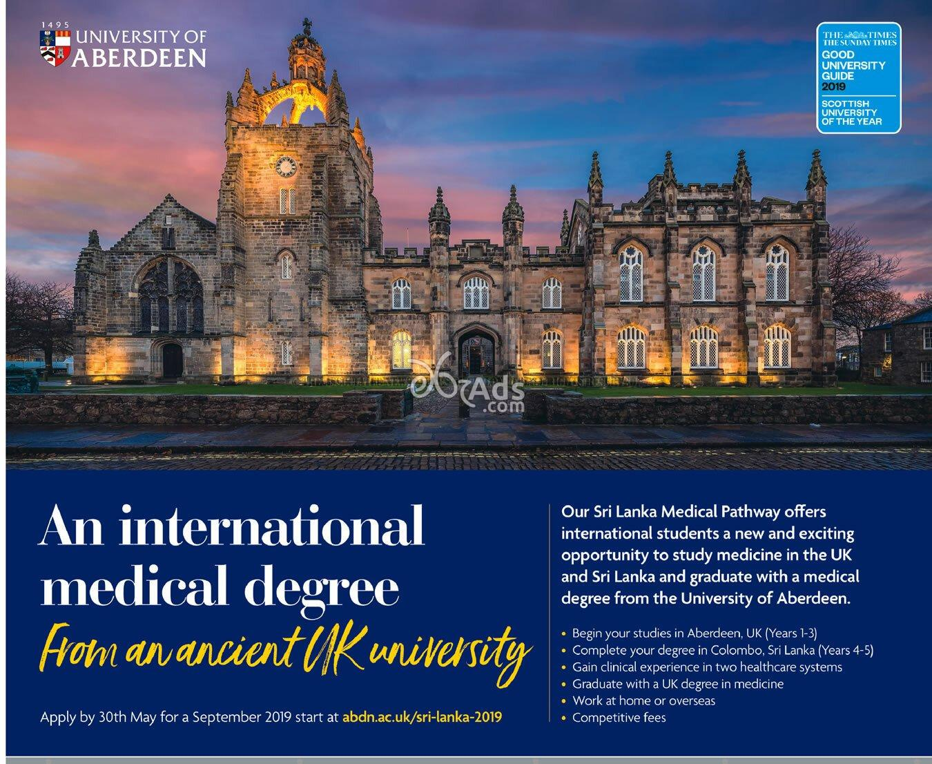 Degree in Medical Science at University of Aberdeen