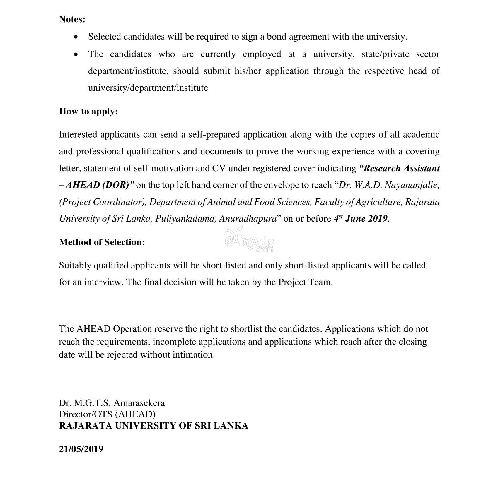 Research Assistant Government Vacancy at Rajarata University of Sri