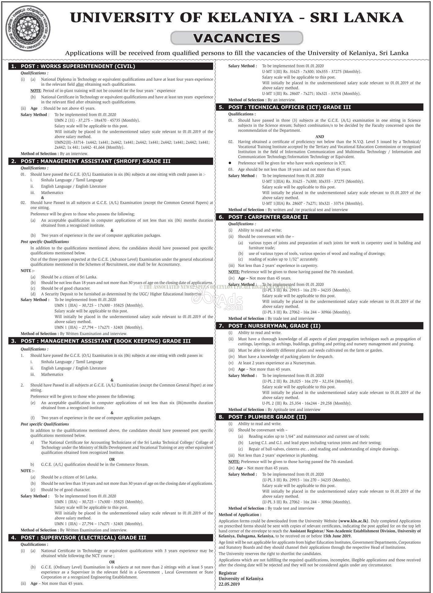 Supervisors, Management Assistant, Technical Officers