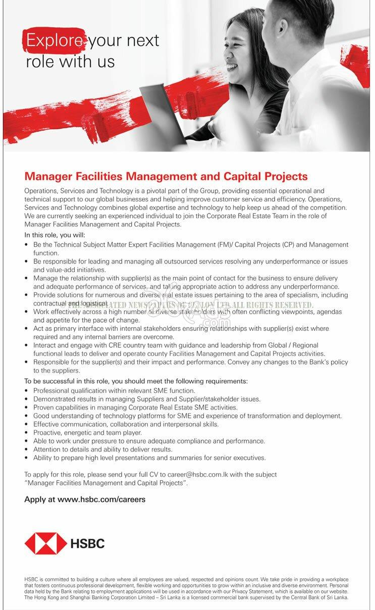 Manager Vacancy at HSBC - Colombo